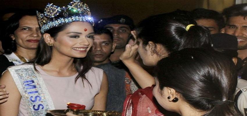 दिल्ली पहुंची मिस वर्ल्ड मानुषी छिल्लर, हरियाणा के कैबिनेट मंत्री ने किया जोरदार स्वागत।