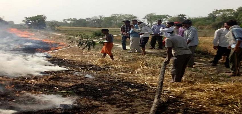 आग की भेंट चढ़ी किसानों की फसले।
