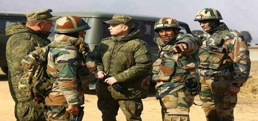 भारत-रूस संयुक्त सैन्य अभ्यास।