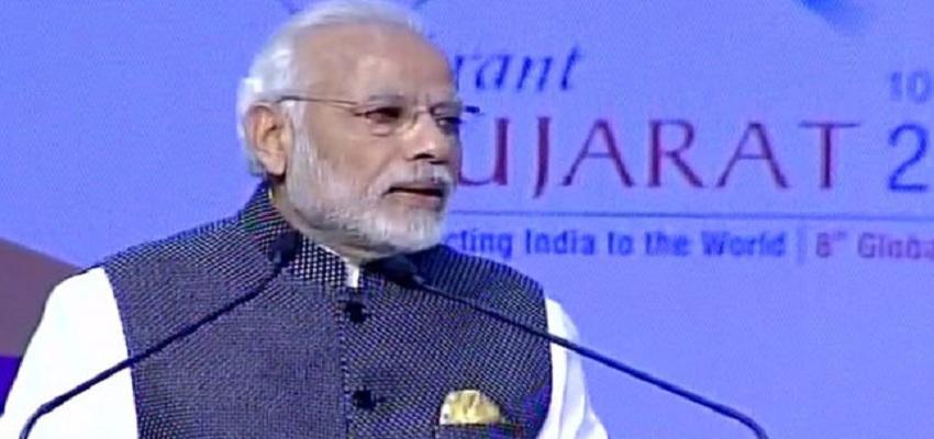 PM मोदी ने आज वाइब्रेंट गुजरात ग्लोबल सम्मेलन का उद्धाटन किया।