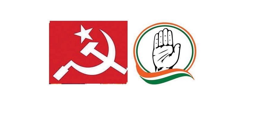 बंगाल में कांग्रेस-माकपा ने मिलाया हाथ।