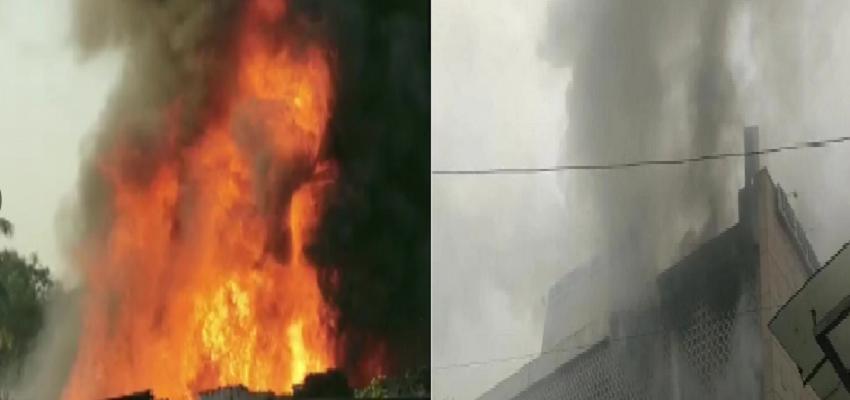 दिल्ली के आईटीओ के पास इमारत में लगी भीषण आग