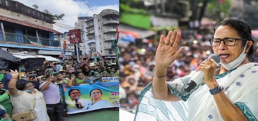 भवानीपुर सीट पर ममता बनर्जी की बड़ी जीत, जश्न में डूबे टीएमसी कार्यकर्ता